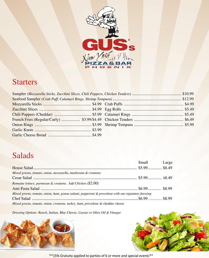 Gus 39 s new york pizza bar phoenix food menu for Bar 88 food menu